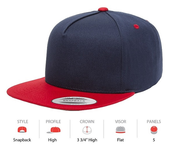 6007T Yupoong Classic 5 Panel Contrast