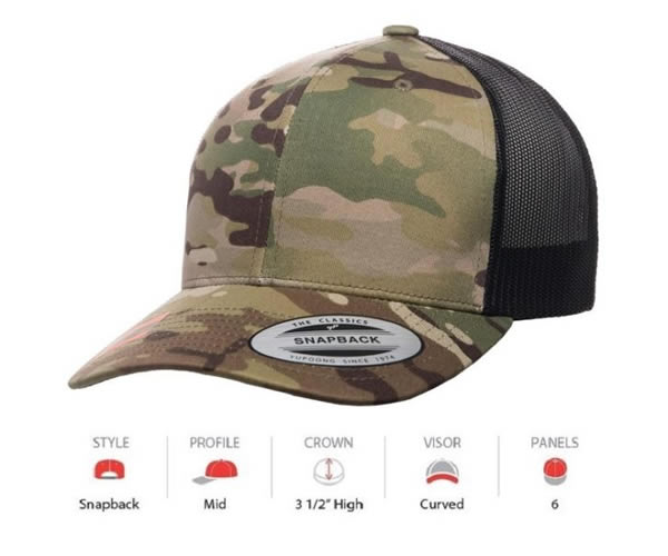 6606MC Yupoong Camo Retro Trucker Multicam